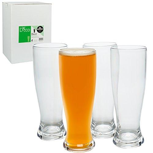 Unbreakable Beer Glasses 24oz - 100% Tritan - Set of 4 - Shatterproof, Reusable, Dishwasher ()