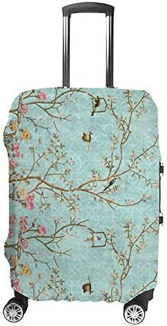 スーツケースカバー トラベルケース 荷物カバー 弾性素材 傷を防ぐ ほこりや汚れを防ぐ 個性 出張 男性と女性鳥と花のデザイン