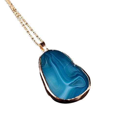 Tuscom 1PC Round Natural Agate Stone Necklace Women Men Jewelry Trendy Necklaces (Blue) (Hot Dollar Costumes)