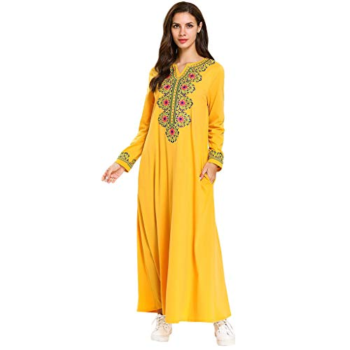 perfectCOCO Muslim Floral Print Dress Embroidery Plus Size Loose Arab Dresses Islam Jilbab Robes Yellow