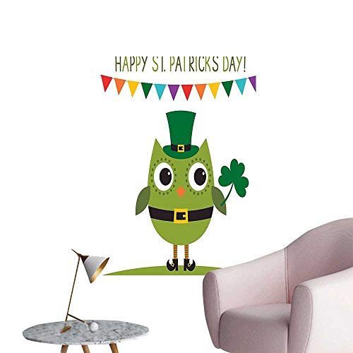 Vinyl Artwork Day Owl with Leprechaun Costume Greeting Design for Party Shamrock White and Easy to Peel Easy to Stick,28