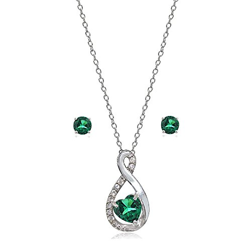 (Lovve Sterling Silver Simulated Emerald & White Topaz Infinity Heart Necklace Earrings Set)