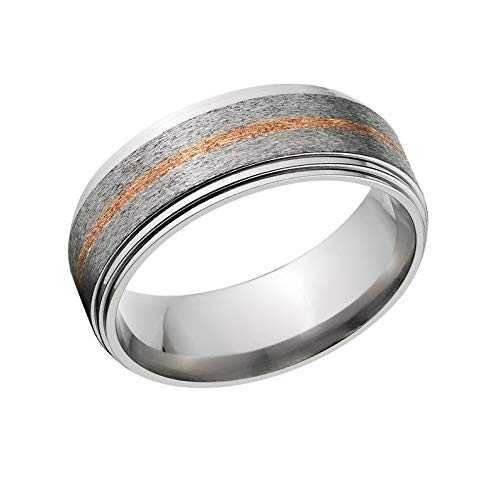 The Jewelry Source 7mm Titanium Wedding Ring with Copper Inlay Copper Rings Copper Wedding Band