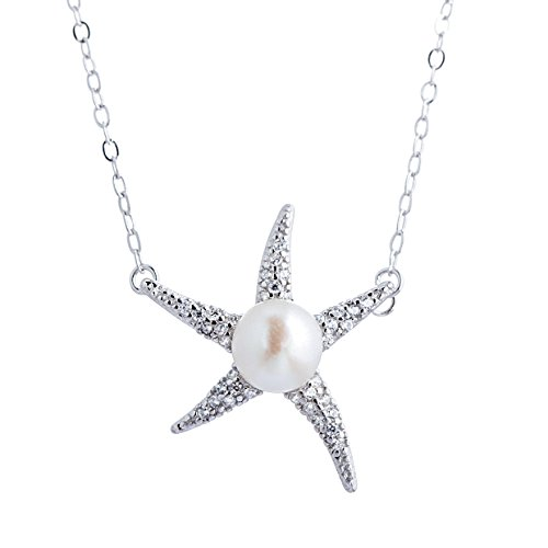 Pearl Necklace Starfish (Adstones White Freshwater Cultured Pearl Starfish Pendant Necklace Sterling Silver)