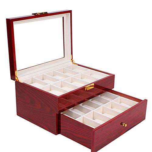 Box 3 Luxury 20 Slots Glass Top Wood Watches Display Case Jewelry Storage Organizer with 20 Removable Soft Cushions for Men Women Collection Boxes ()
