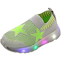 Axinke Little Boys Girls Casual Slip-on Breathable Mesh Outdoor Walking Shoes with LED Light