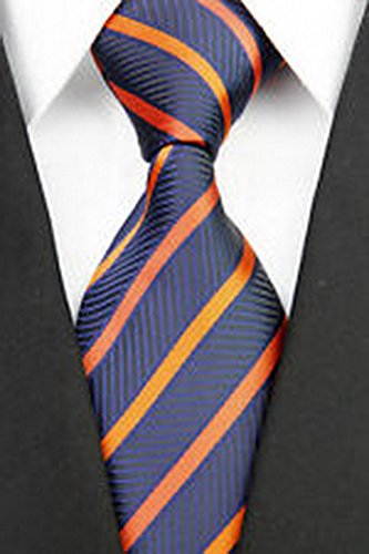 Dan Smatree Business Orange Navy Stripe Man Classic JACQUARD Woven Necktie Tie