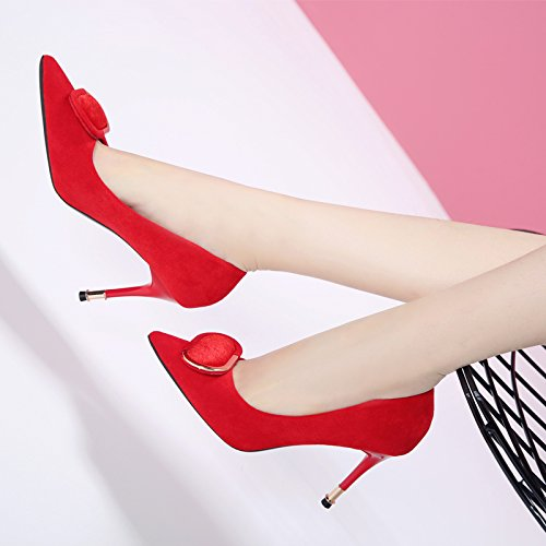 Spring Port Shoes Marriage Light High Wild Lady Single Shoes Heeled Red MDRW Shoes Tip Party With Shoes Work Lady And Fine 34 9Cm Tie Leisure Elegant wqfqUIY