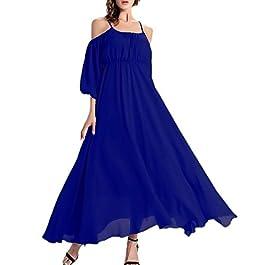 Afibi Womens Off Shoulder Long Chiffon Casual Dress Maxi Evening Dress
