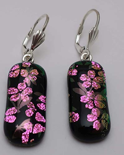 Fused dragonfly pink flower dichroic glass earrings Sterling silver lever-back ear wires