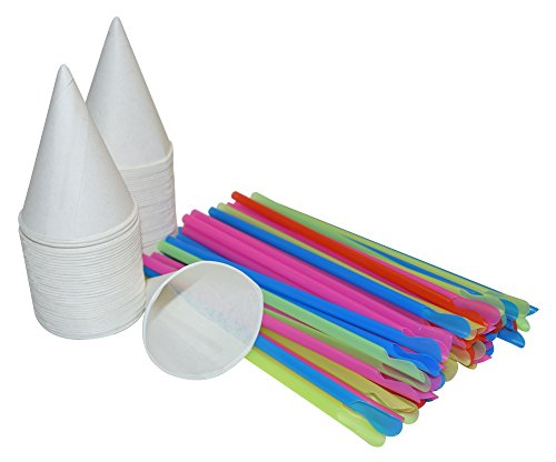 400 White Snow Cone Cups 4 OZ and 400 Colorful Spoon Straws ()