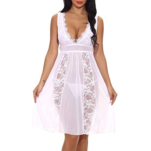 Sexy Women Long Lace Lingerie Nightdress G-String Sheer Gown Chemise White