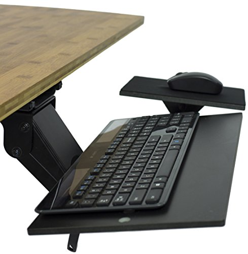 Uncaged Ergonomics (KT1-b) Ergonomic Under-Desk Computer Keyboard Tray w/Negative Tilt. Affordable Adjustable Height & Angle Under desk Drawer, Tilting Mouse Pad Swivels 360 by Uncaged Ergonomics