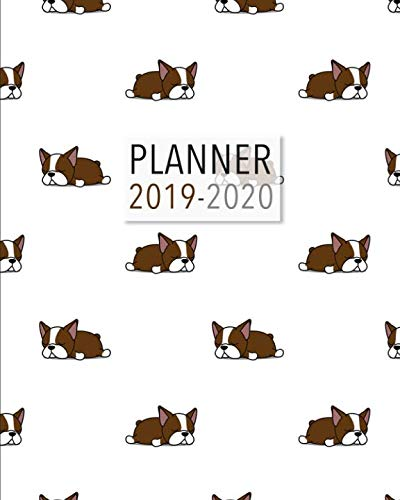 (Planner  2019-2020: 18 Month Academic Planner. Daily Schedule, Important Dates, Mood Tracker, Goals and Thoughts all in One! Cute Boston Terrier Illustrations on each Page! Red Boston Terrier Pattern.)