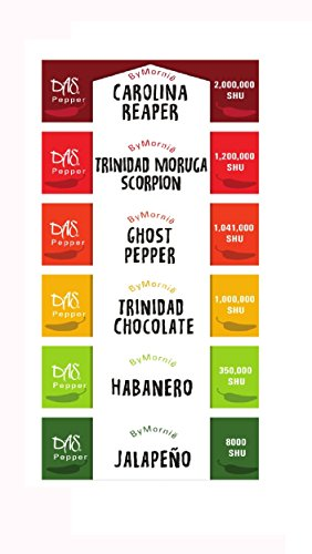 Chili powder Sampler,Hot peppers, 6 of the hottest peppers in the world - Das by Mornie by DAS by Mornië (Image #1)