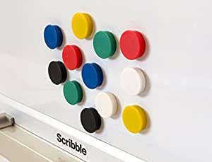 Scribble 1 Inch Value Whiteboard/Fridge Magnets - Assorted Colours (Pack of 24)