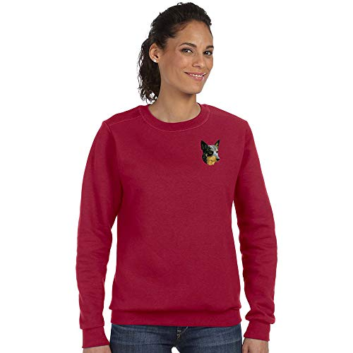 Cherrybrook Breed Embroidered Anvil Ladies Crew Sweatshirt - X-Large - Independence Red - Australian Cattle Dog