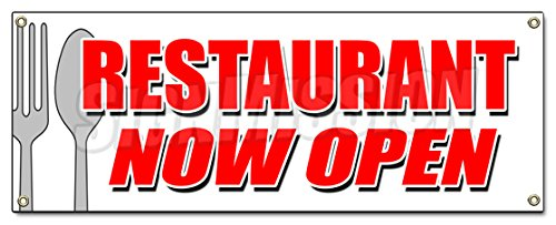 RESTAURANT NOW OPEN BANNER SIGN grand opening new management happy - Open Stores Now