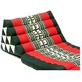 タイのゾウさん刺繍三角アジアンクッション(4段・マット3本付き) アジアン家具・モダンインテリア (黒×赤)
