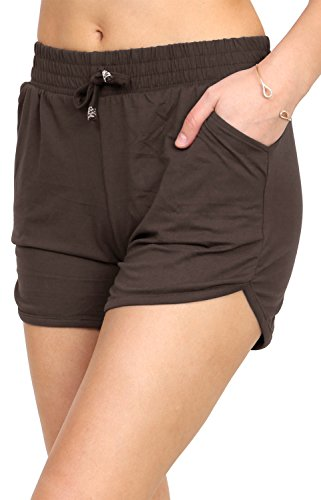 Printed Brushed Casual Summer Shorts (Dark Brown, Small/Medium) (Brown Womens Shorts)