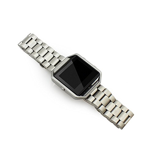 Wearlizer Lux Band Accessories, Metal Link Bracelet Replacement Strap for Fitbit Blaze - Silver