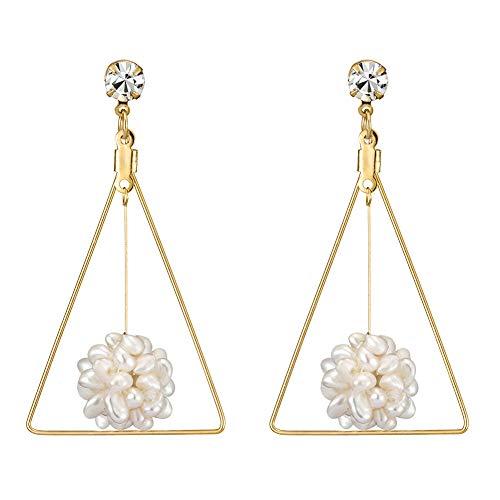 KAMILLE Gold Dangle Statement Earrings - Long Stud Earrings for Women, Fashion Wedding Hypoallergenic Earrings (Triangle Pearls Flower Earrings) ()