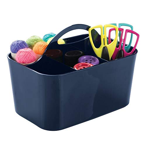 - mDesign Plastic Portable Craft Storage Organizer Caddy Tote, Divided Basket Bin for Craft, Sewing, Art Supplies - Holds Paint Brushes, Colored Pencils, Stickers, Glue, Yarn - Small - Navy Blue