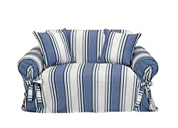 Classic Slipcovers Printed Classic Stripe Canvas Loveseat Slipcover, Blue
