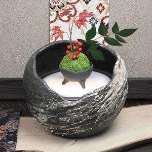 信楽焼 流麗(小) 湧き水つくばい 電動つくばい つくばい 陶器かけひ 蹲 循環式つくばい ウォーターオブジェ dt-0045 (幅250×高さ200mm) B06XH64G6M幅250×高さ200mm 重さ3キロ(鉢に水を入れない状態)