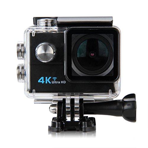 Floureon 4K Action Camera, Full HD Wi-Fi 1080p Waterproof Action Cam, 2.0'' Screen 173° Fish EYE Wide-Angle Lens with 900mAh Battery Black Floureon
