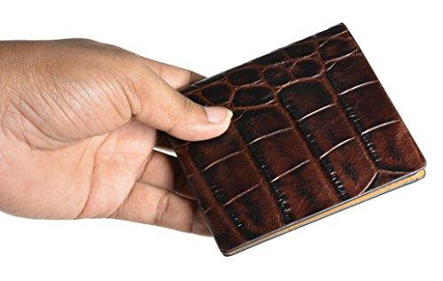 Cruzada Billetera De Pliegue Hombres marrón De Cuero Dinero Los Marrón Crédito Tarjeta Con De De Y Compartimiento Doble Verdadera wYEI8xE5q