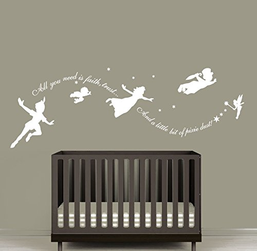 Wall Decal Vinyl Sticker Decals Art Decor Design Faity Tale Story Peter Pan All You Need is Faith Kids Nurdery Baby Room…