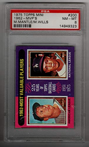 MICKEY MANTLE - M WILLS 1962 MVP'S 1975 Topps Mini #200 PSA 8 NM-MT Baseball Card