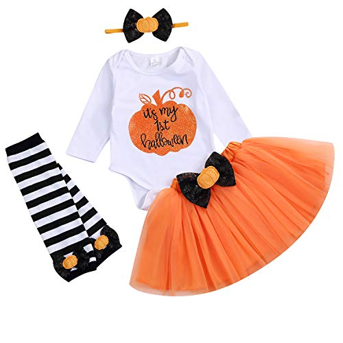 4PCS My 1st Halloween Baby Girls Pumpkin Romper Bowknot Tutu Skirt Set Halloween Dress Outfits (Orange, 6-12 ()