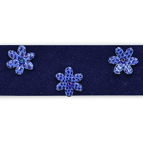Faux Suede Flower Trim Royal Blue (Precut 10 Yard)