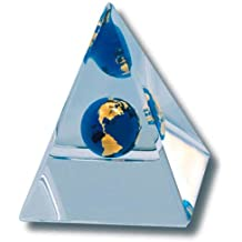 Desktop Paperweight Beveled Pyramid, Globe With 22k Gold Continents, Lucite, 3 Inches Tall