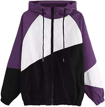 NOMUSING Womens Hooded Sweatshirt Zip Up Lightweight Long Sleeve Patchwork Thin Skinsuits Casual Sport Coat Outerwear