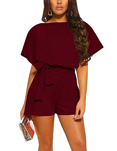 Women Summer Shorts Jumpsuits -Juniors Casual Loose Pants Rompers Dressy Top Belted Playsuits Blue