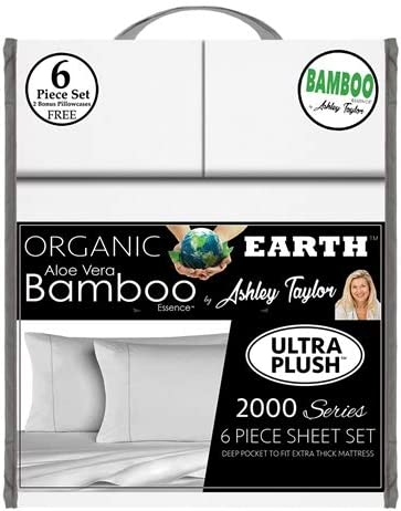Ashley Taylor Cooling Aloe Vera 6 PC Deep Pocket Bamboo Essence Sheet Set ~NEW