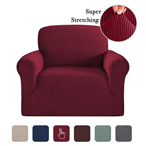 One Piece Stretch One Seat Slipcovers Stay in Place Chair Covers for Living Room Super Rich Furniture Cover/Protector Polyester Spandex Jacquard Fabric Small Checks (One Seater Burgundy Red) (Slipcover Burgundy)