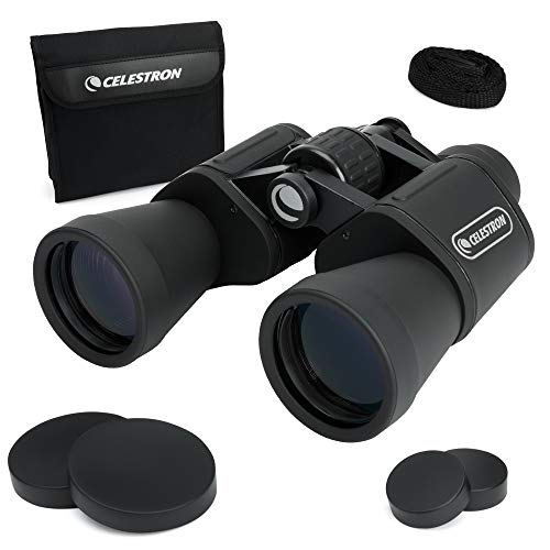 Celestron – UpClose G2 10x50 Porro Binoculars with Multi-Coated BK-7 Prism Glass – Water-Resistant Binoculars with Rubber Armored and Non-Slip Ergonomic Body for Sporting Events