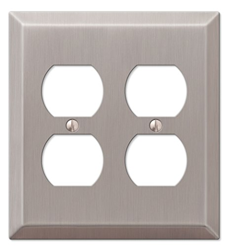 Amerelle 163DDBN Century Steel 2 Duplex Wallplate, Brushed - Square Outlets
