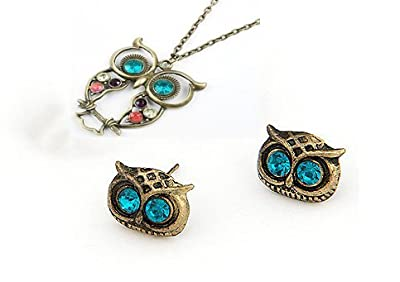 niceeshop(TM) Owl Head Charm Stud Earring (1 Pair,Random Color) + Owl Design Necklace,Colorful