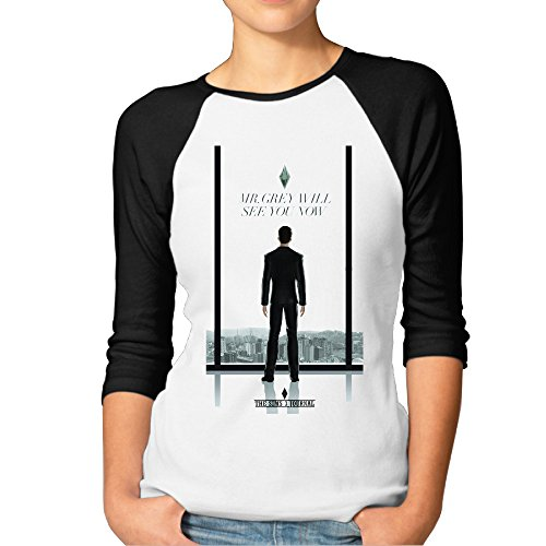 Fifty Shades Of Grey Women's Fashion 100% Cotton 3/4 Sleeve Athletic Baseball Raglan Sleeves T-Shirt Black US Size - Kid Shades Cudi
