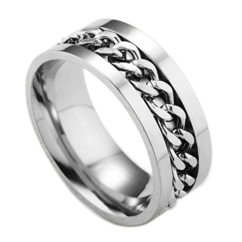 Bling Stars Tungsten Beveled Edges Center Chain Celtic Rings Jewelry Wedding Band Promise Rings (Ring Titanium Star)