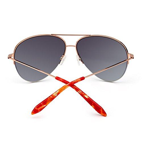 de Aviador Anteojos Gafas Rimless de Mujer Rosa Semi Espejo Dorado Oversized Retro Sol Hombre Espejo AEEwSqpd
