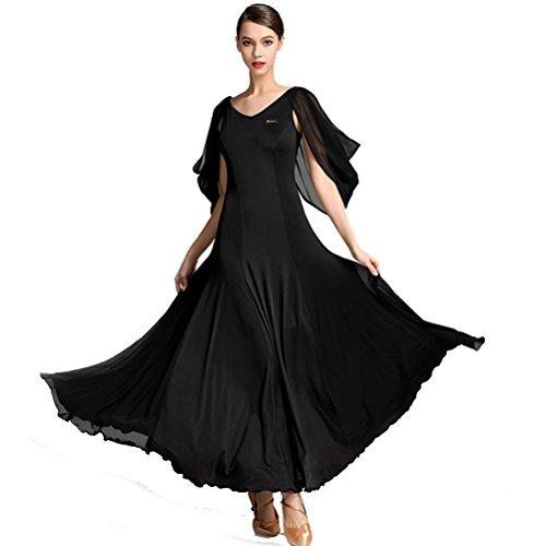 - YILINFEIER Women V Neck Flying Yarn Sleeves Elegant Hemline Competition Standard Waltz Flamenco Ballroom Salsa Dance Dress (XXL, Black)