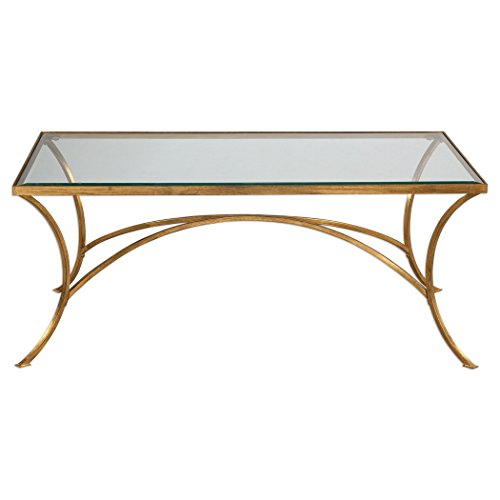 Minimalist Gold Arch Coffee Table | Metal Glass Top Elegant Modern Contemporary - Trendy Glass Top Coffee Table