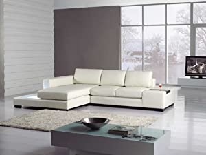 Amazon Com T35 Mini White Bonded Leather Sectional With