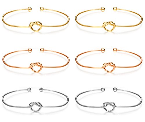 LOLIAS 6 Pcs Love Knot Bangle Bracelets Simple Cuffs Bracelets for Women Girls Stretch Bracelets Adjustable Silver-tone,Gold-tone,Rose Gold-tone by LOLIAS